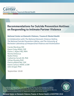 Recommendations for Suicide Prevention Hotlines on Responding to Intimate Partner Violence