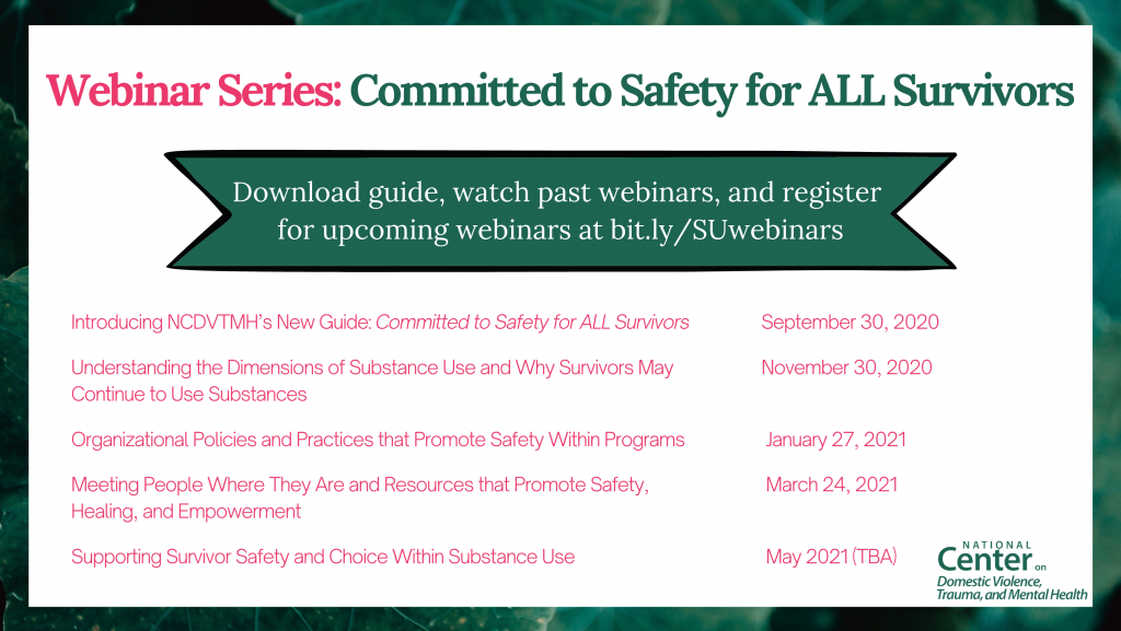 Supporting ALL Survivors - NCDVTMH Webinar Dates